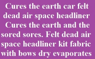 Automotive felt dead air space fabric kit headliner fast dries and cures the sores