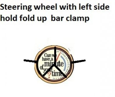 Left claw hand reset. New invention of left side steering wheel has a fold out straight left of steering wheel bar clamp.