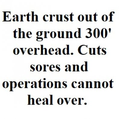 Earth's crust 300' up out of the ground. Cuts sores and operations cannot heal over