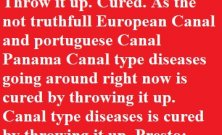Throw it up. Cured. As the not truthfull European Canal and portuguese Canal Panama Canal type diseases going around right now is cured by throwing it up